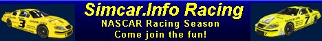 Dedicated to the sport of on-line simulated auto racing using Nascar 2003. Our purpose is to bring together drivers  to help each other become better on-line racers, and promote the sport of on-line racing. Become a Simcar Approved Driver (SAD).